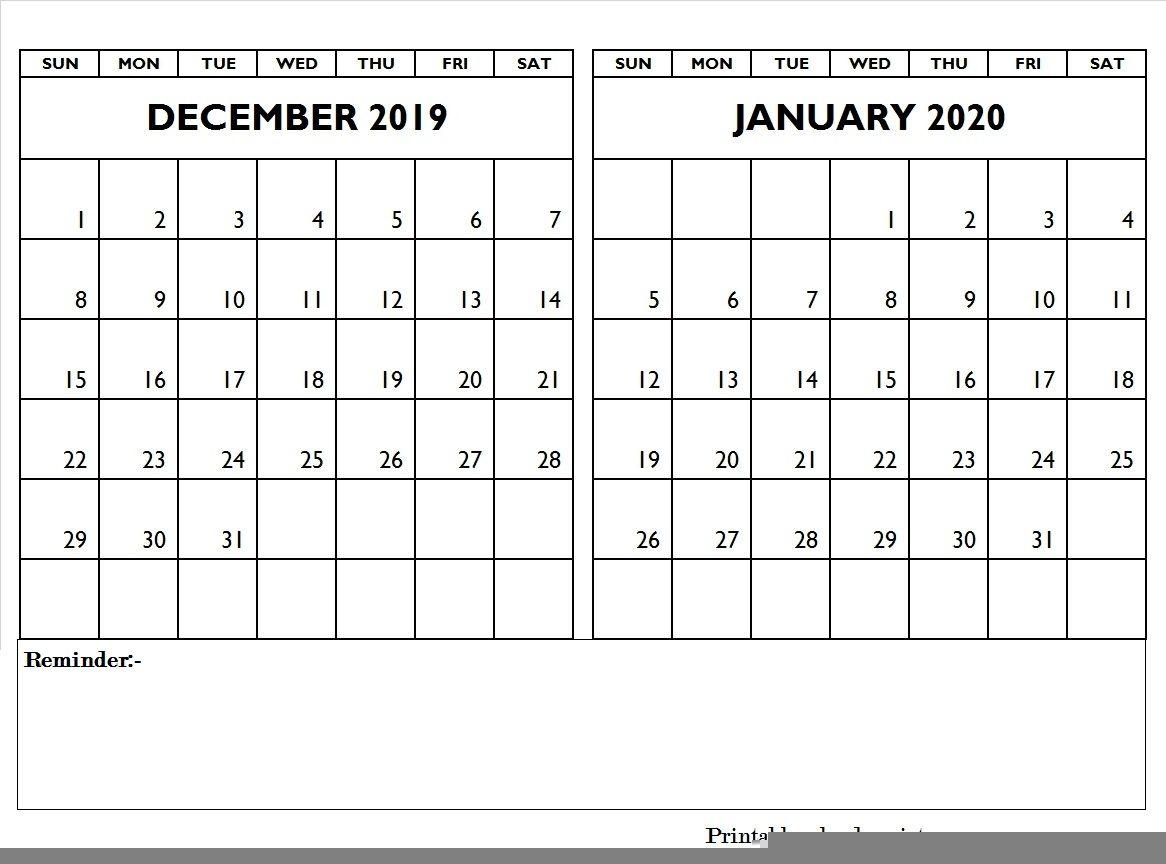 December 2019 January 2020 Calendar Editable | January, 2020