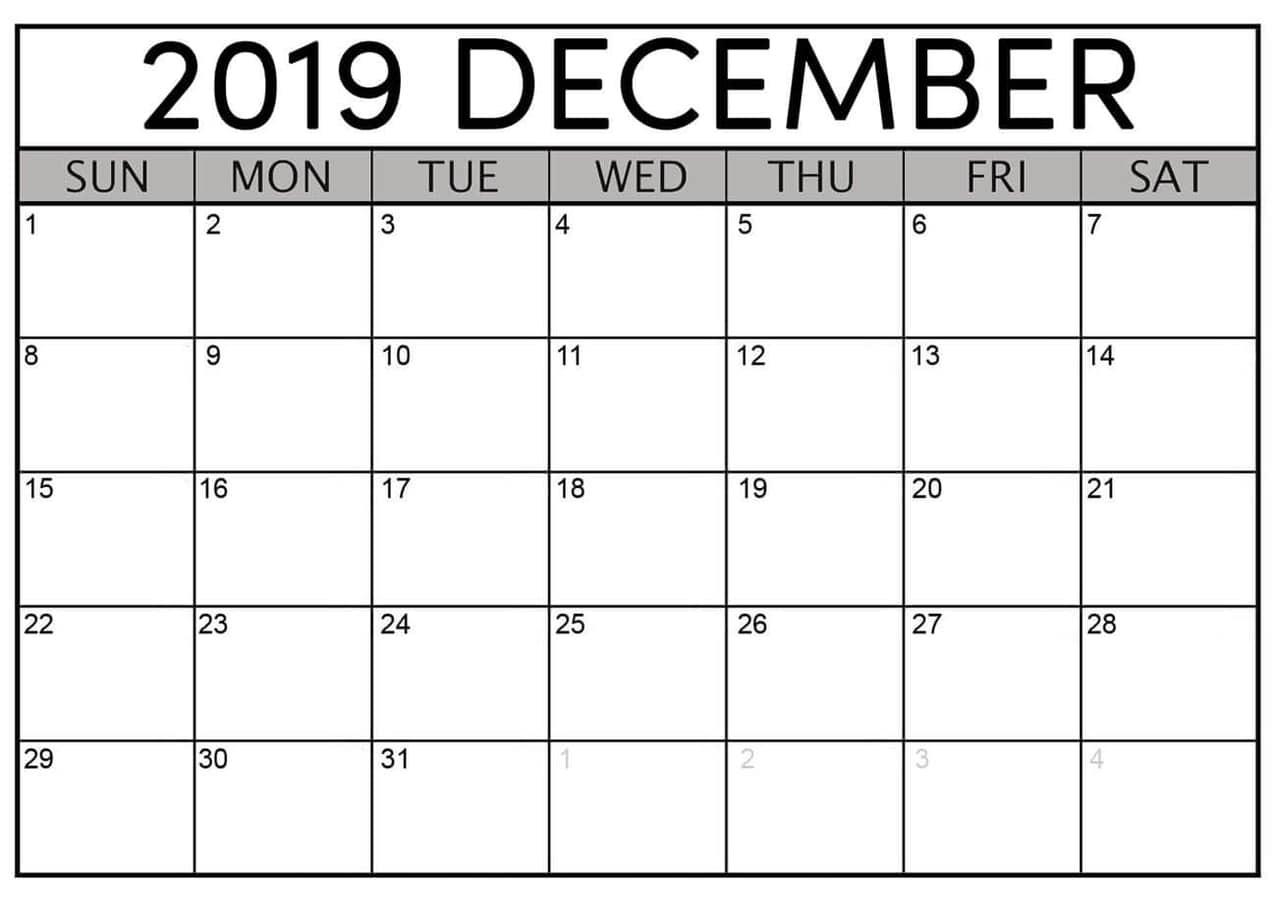 December 2019 Printable Calendar Free Download - Latest