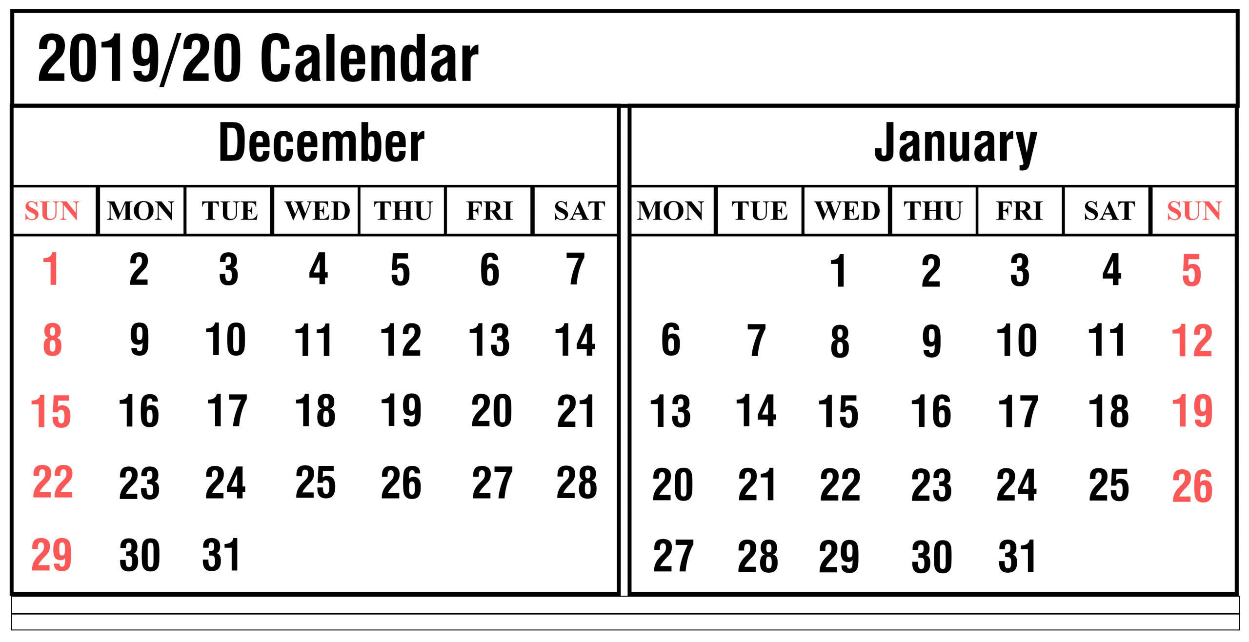 December 2019 Printable Calendar: Weekly Calendar For
