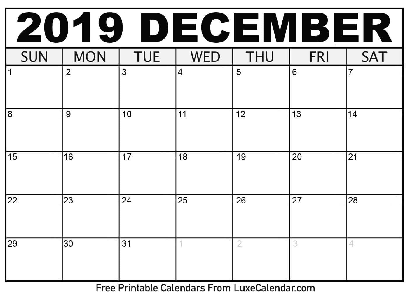 December 2019 Printable Calendars - Luxe Calendar Catch