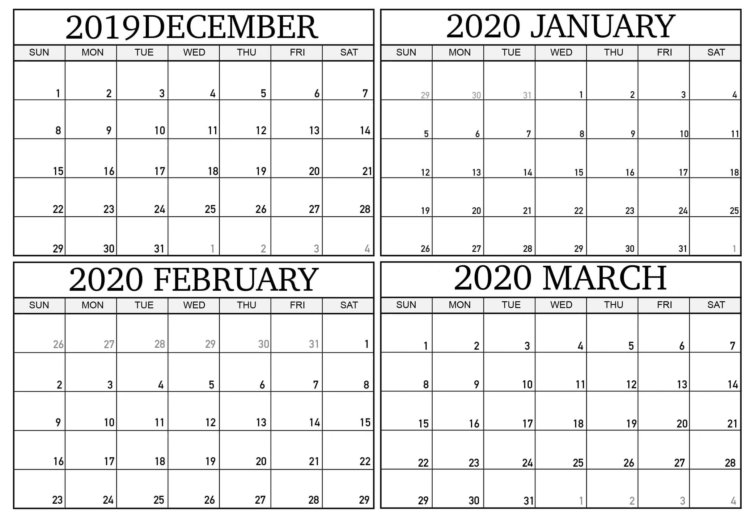 December 2019 To March 2020 Calendar Sheets - 2019 Calendars