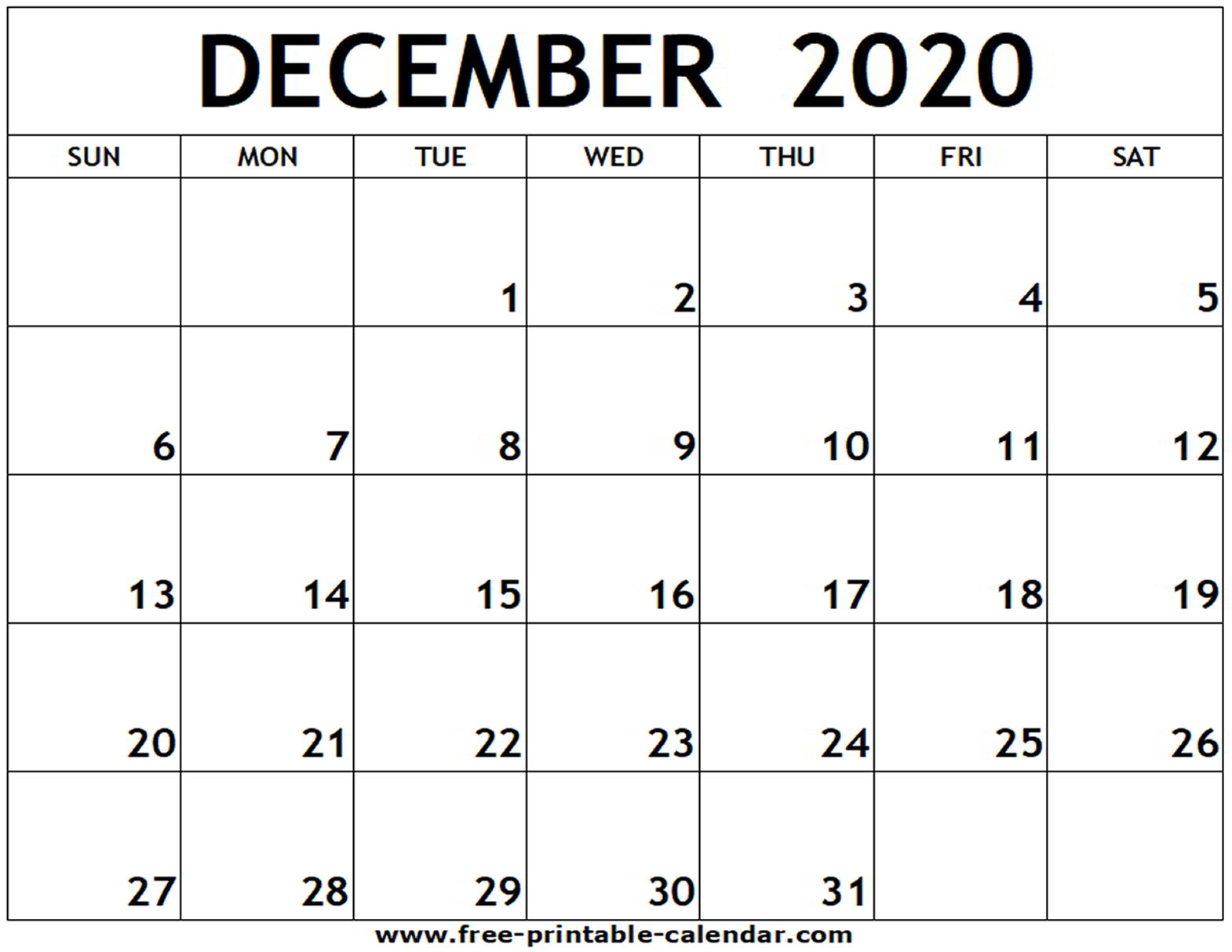 December 2020 Blank Calendar - Togo.wpart.co