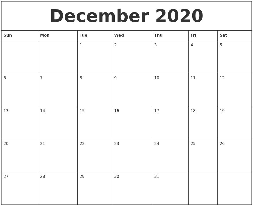December 2020 Blank Monthly Calendar Template