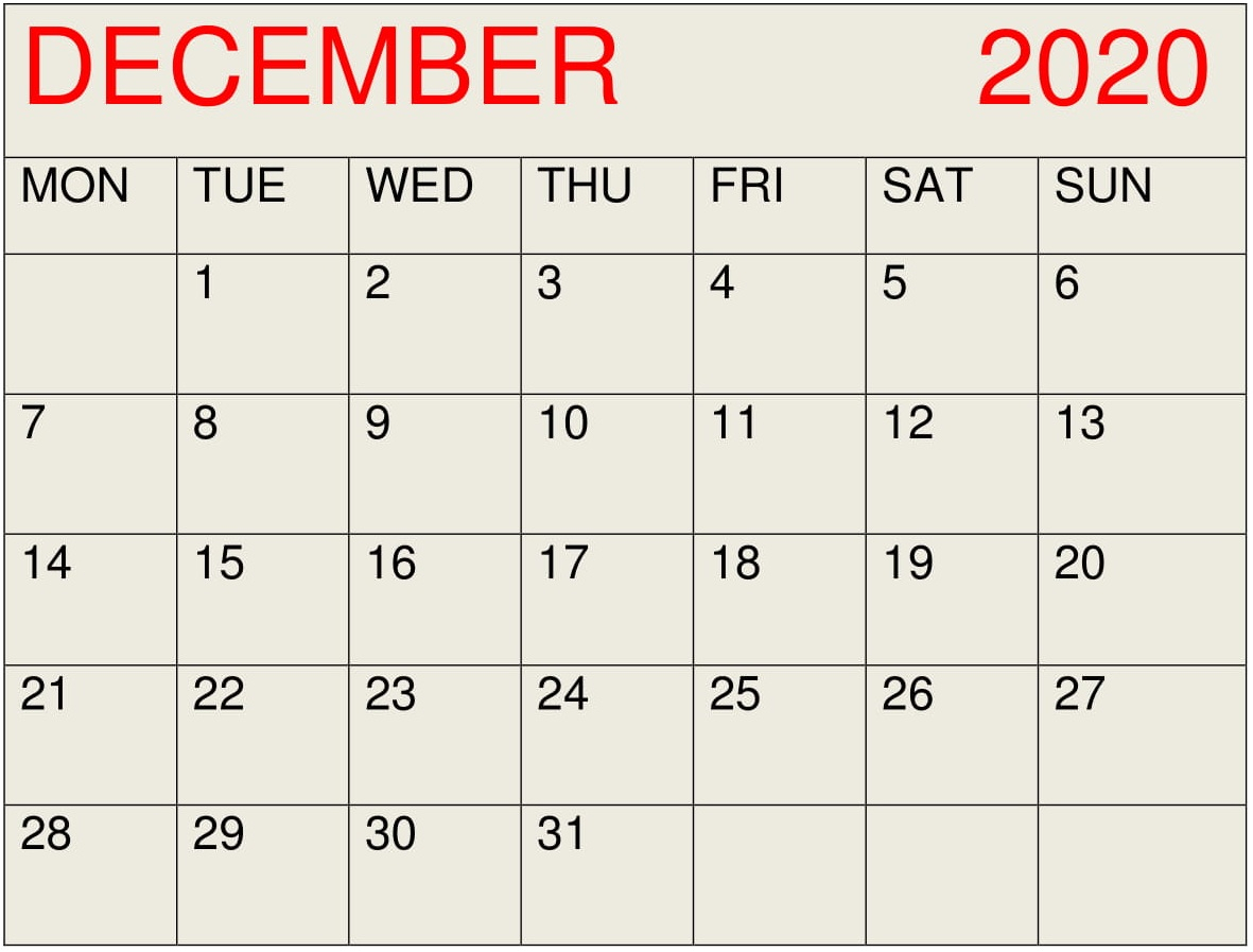 December 2020 Calendar Desktop Wallpaper - Latest Printable