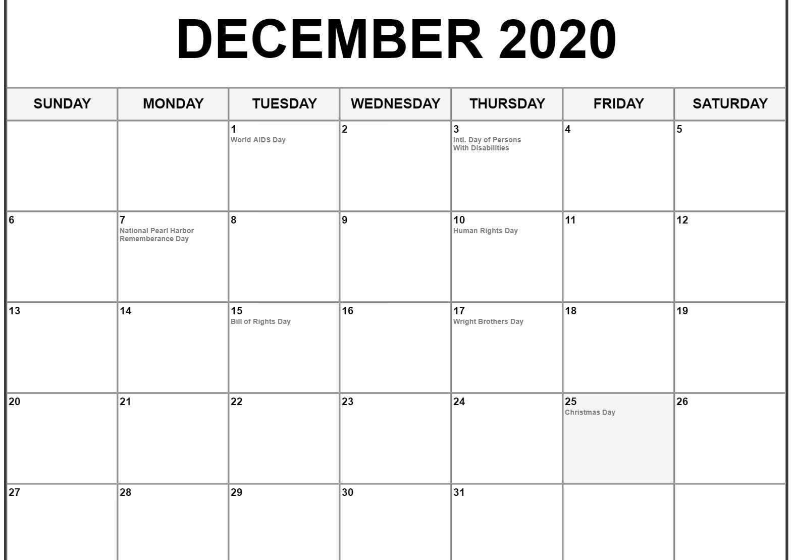 December 2020 Calendar Us Holidays | December Calendar