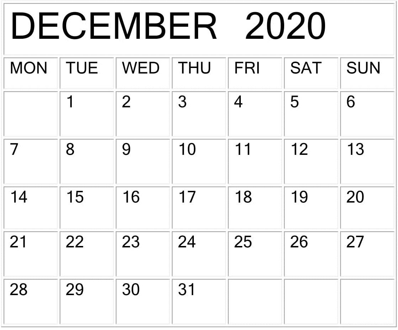 December 2020 Calendar Word Template – Free Latest Calendar