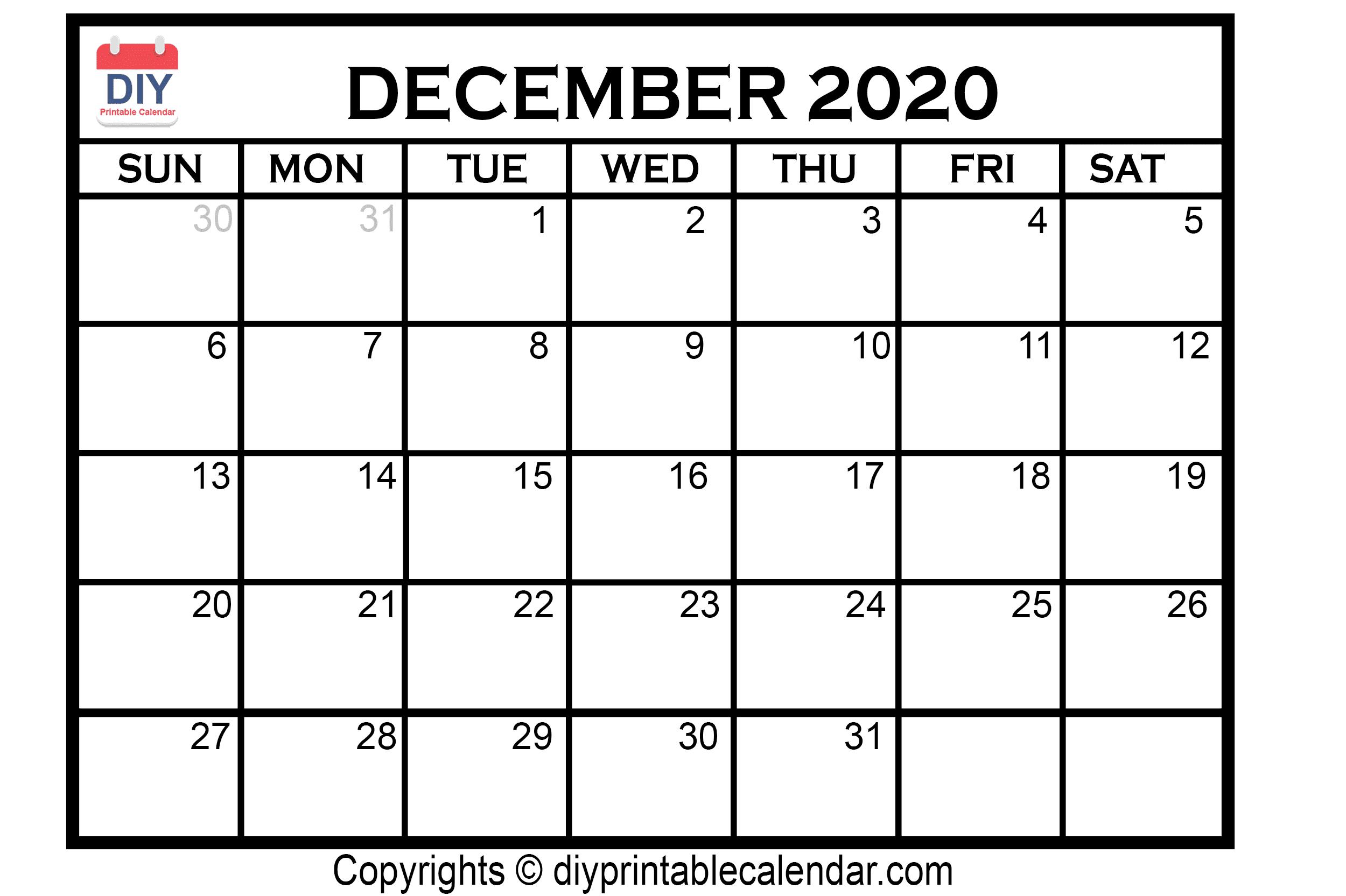 December 2020 Printable Calendar Template
