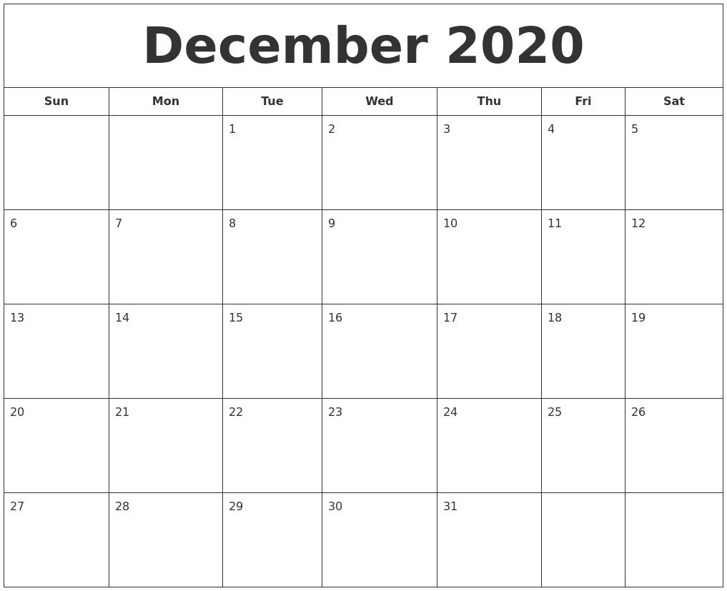 December 2020 Printable Calendar