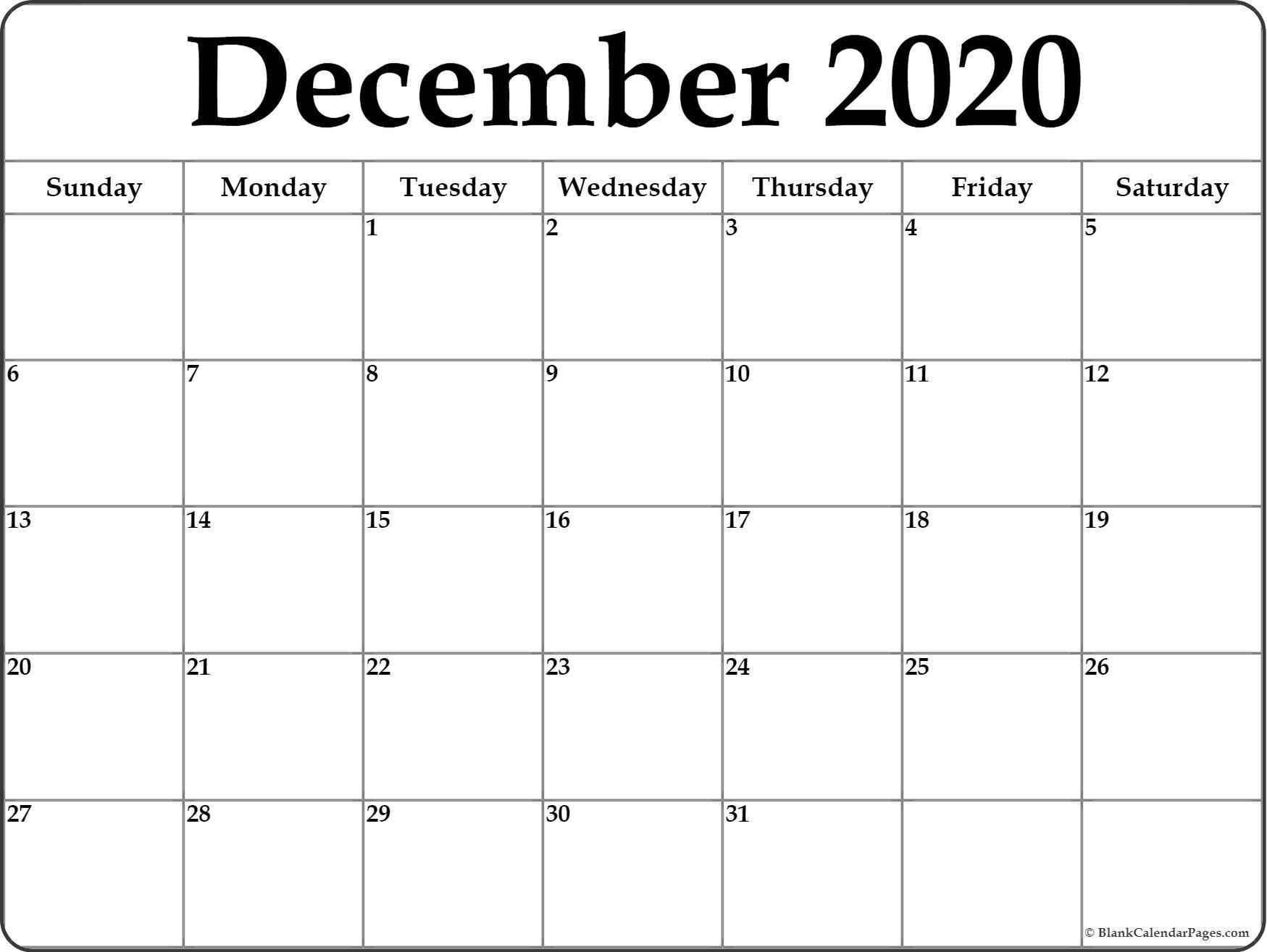 December Calendar Printable 2020 - Togo.wpart.co