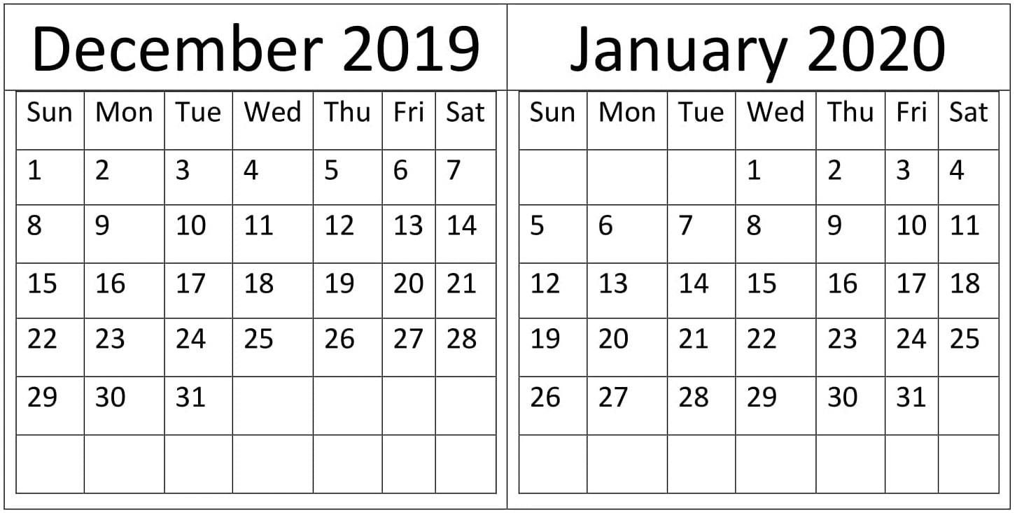 December & January 2019-20 Calendar Printable Templates