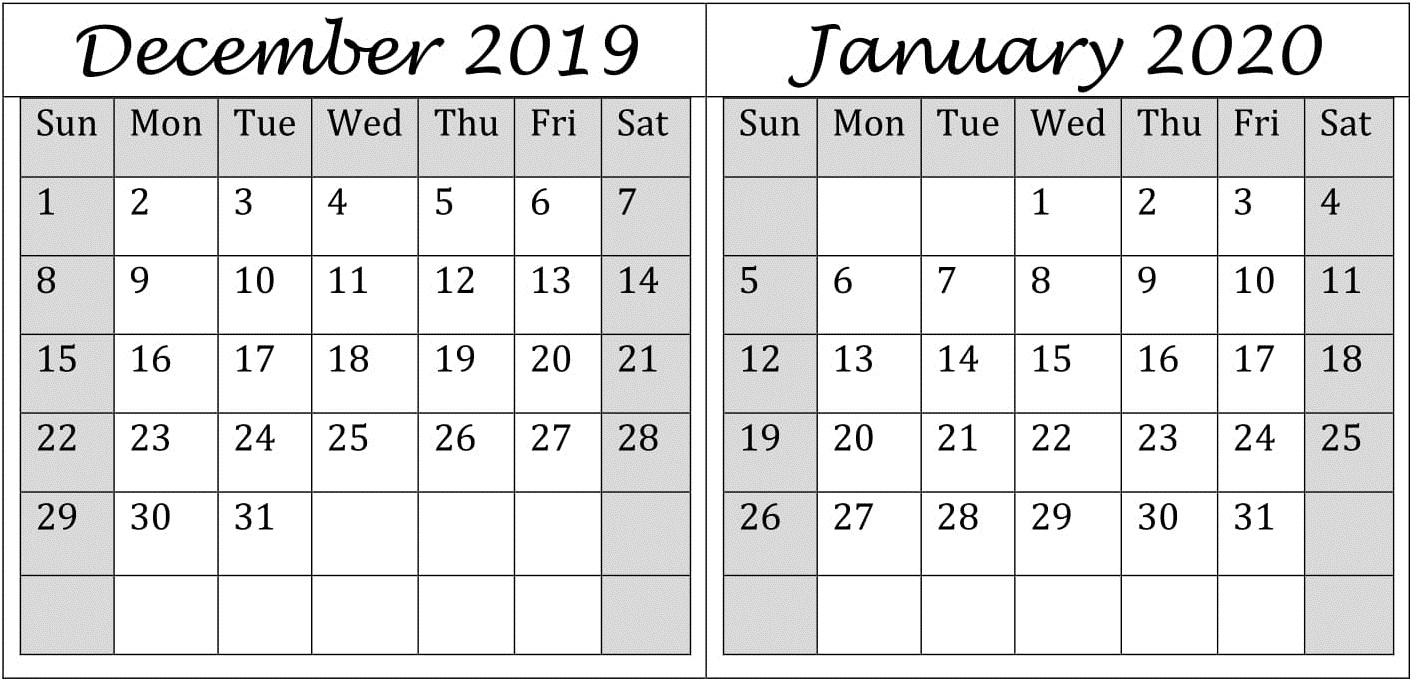 December January 2020 Calendar Excel, Word Printable