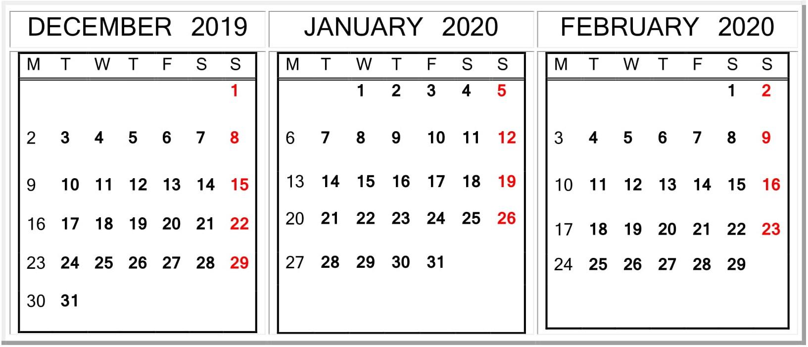 December January February 2020 Calendar Word Template – Free