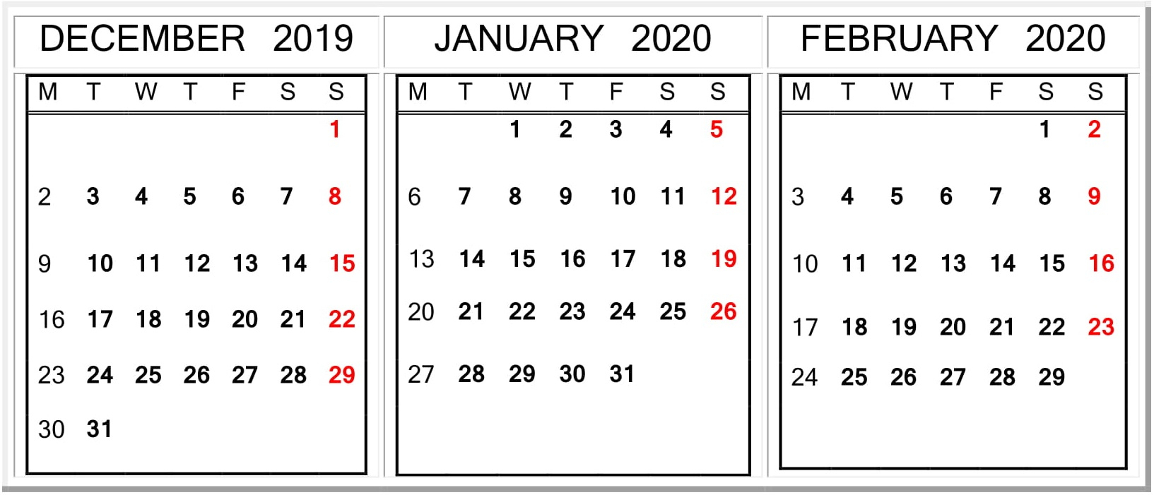 December January February 2020 Calendar Word Template – Free