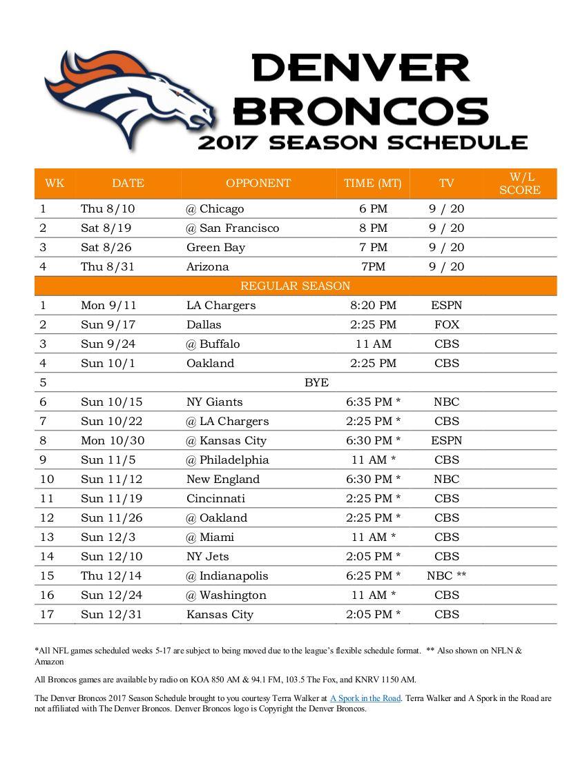 Denver Broncos 2017 Season Schedule - Free Printable