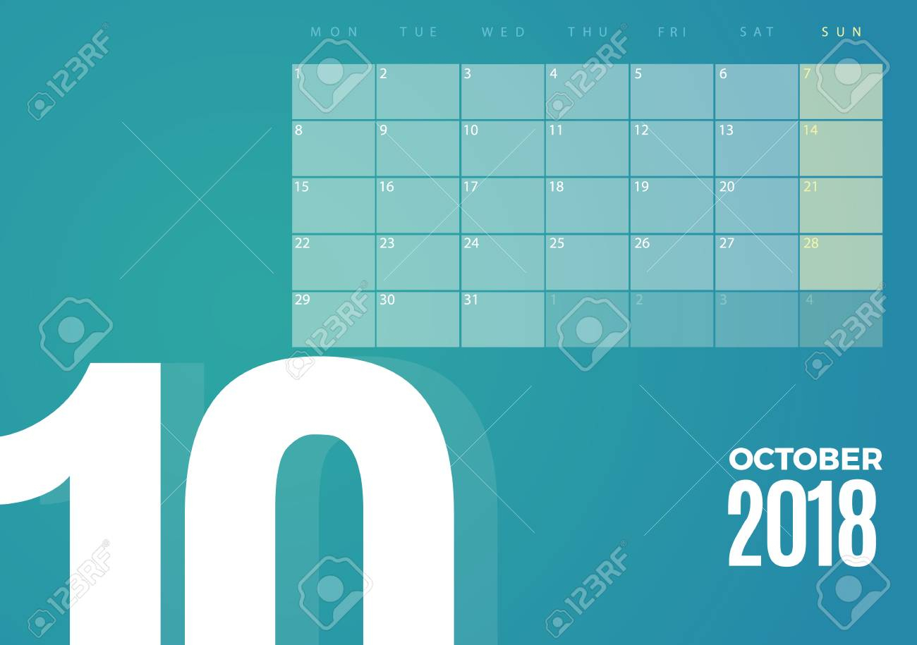 Desk October 2018 Calendar. Vector Schedule Planner Template..