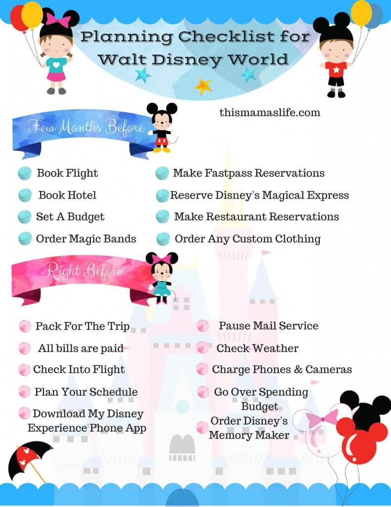 Disney World Planning: Long/short Term Checklist With