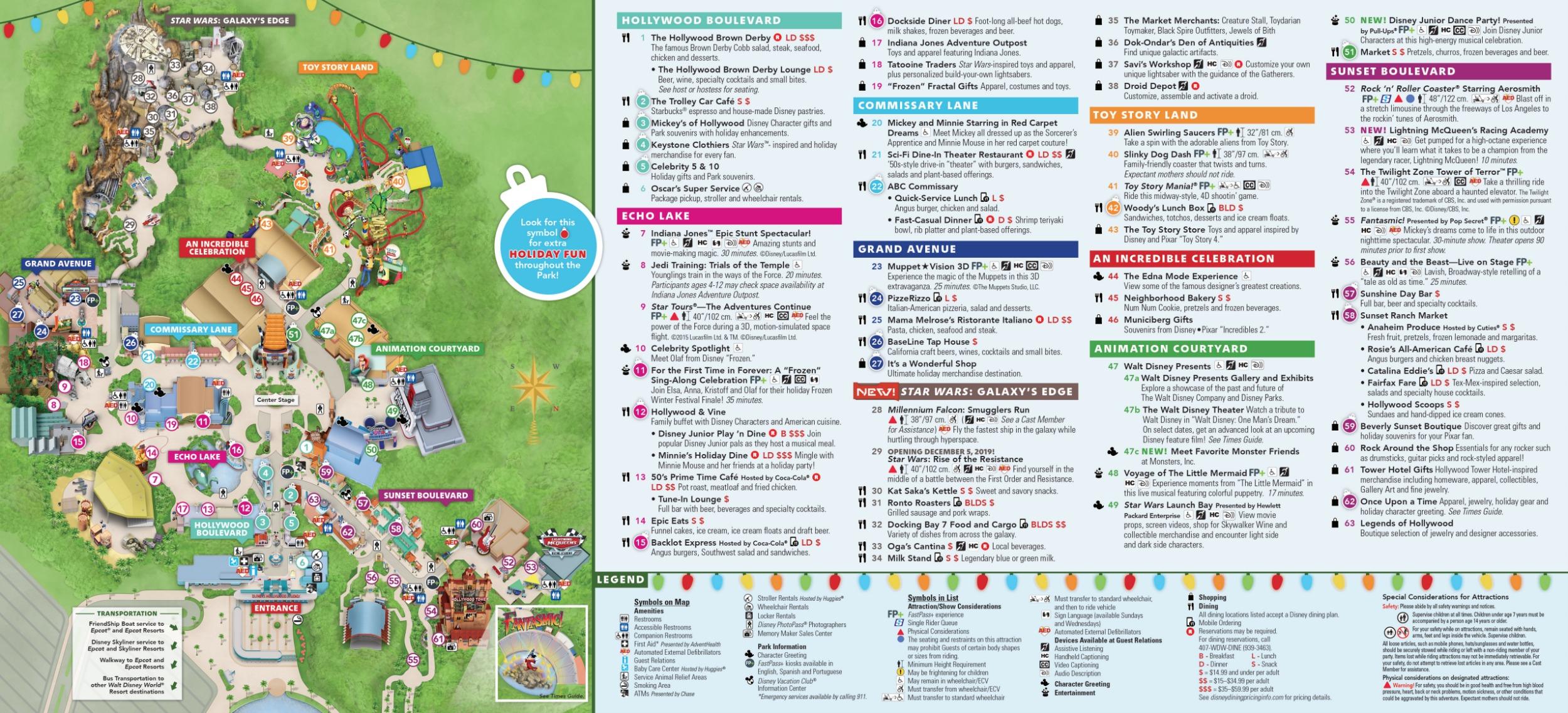 Disney's Hollywood Studios Map At Walt Disney World
