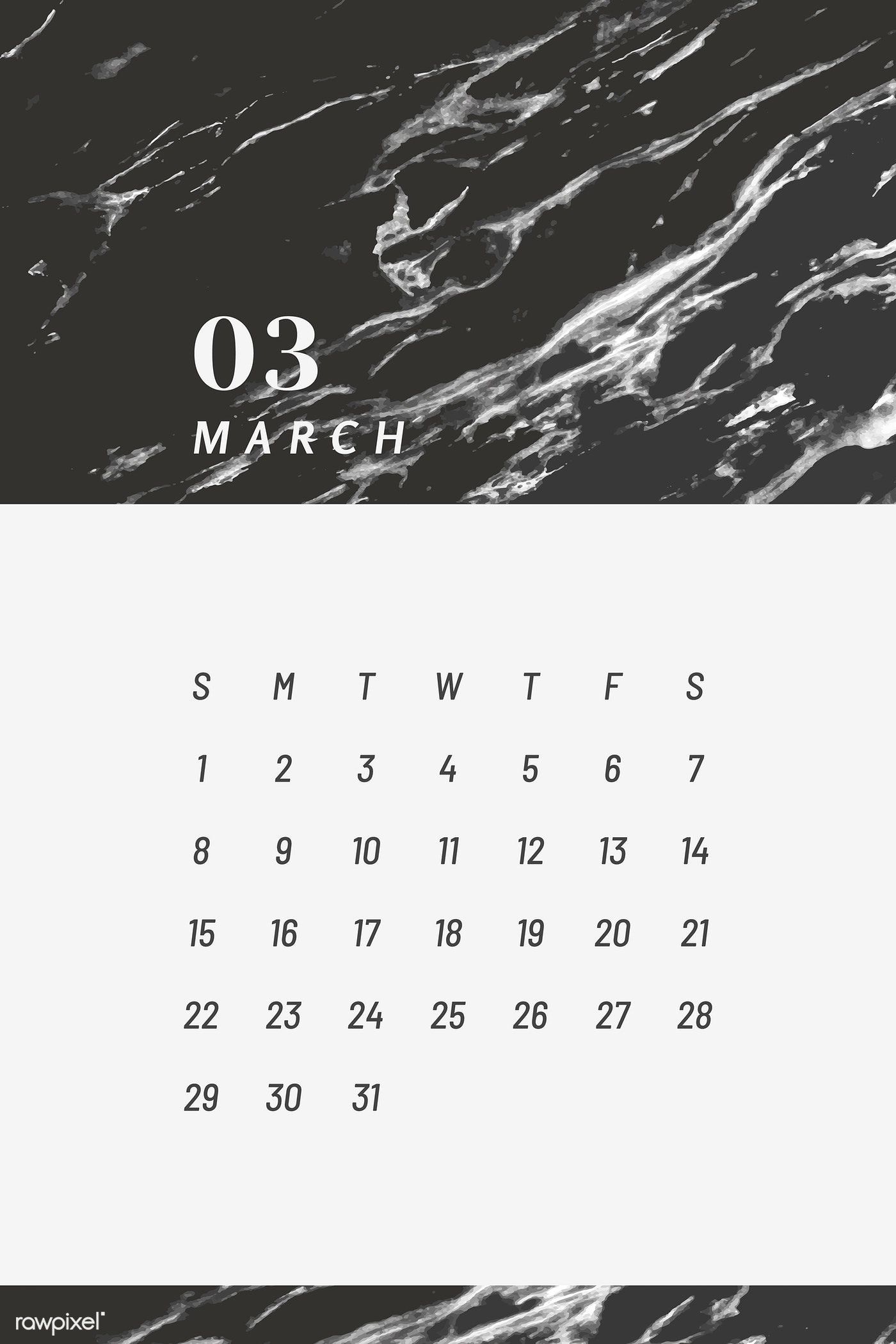 Download Premium Image Of Black And White March Calendar