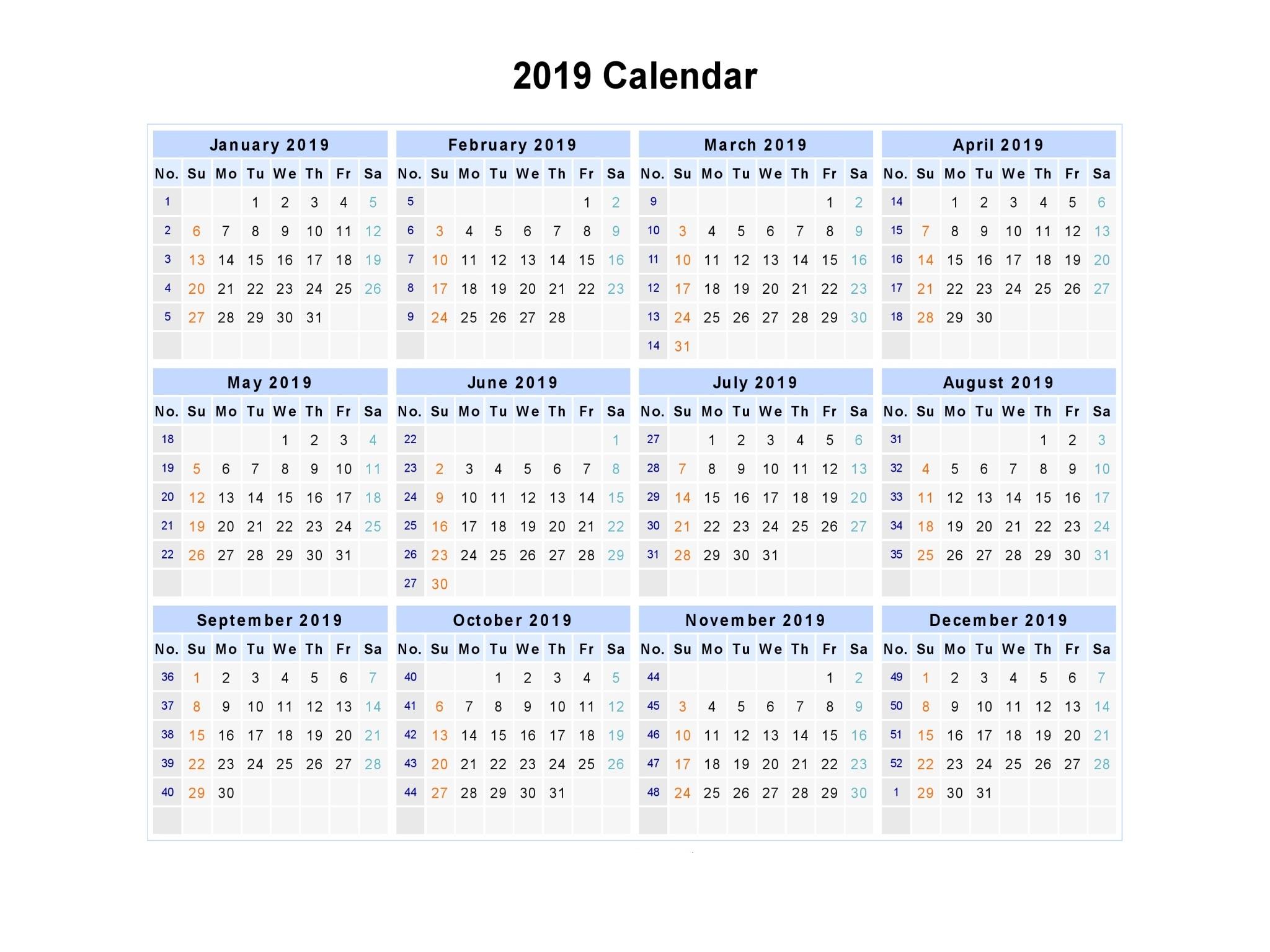 Download Week Number Calendar 2019   Printable Weekly