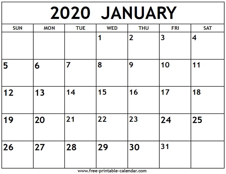 Downloadable January 2020 Calendar - Teke.wpart.co