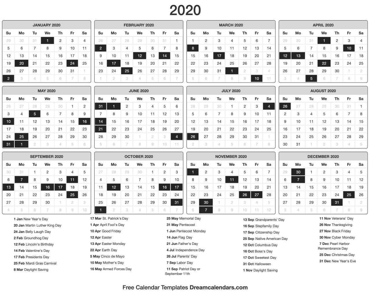 Dream Calendars: Make It 2020 Template — Printable 2020