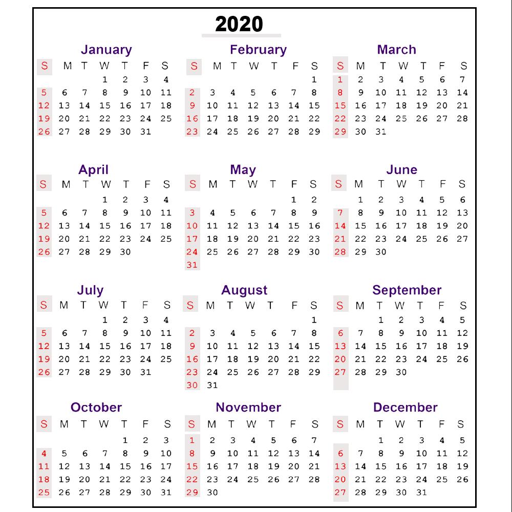 ❤️free 2020 One Page Calendar Printable Templates