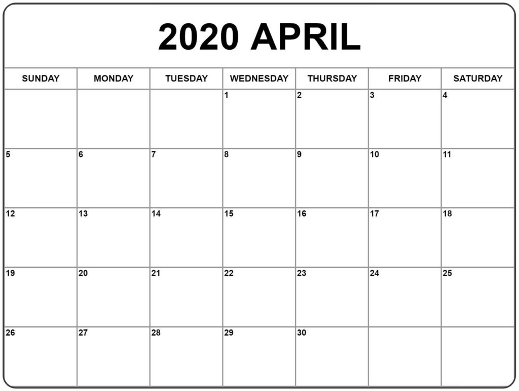 ❤️free April 2020 Printable Calendar Templates [Pdf, Excel