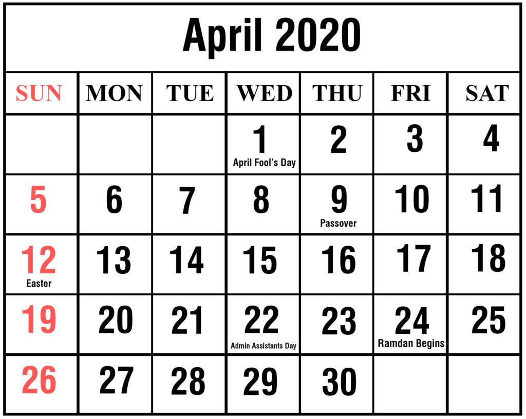 ❤️free April 2020 Printable Calendar Templates [Pdf, Excel