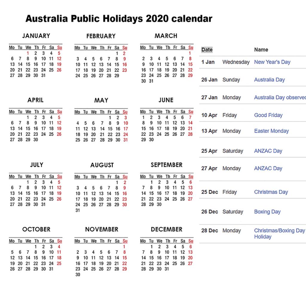 ❤️free Australia Public Holidays 2020 Calendar❤️