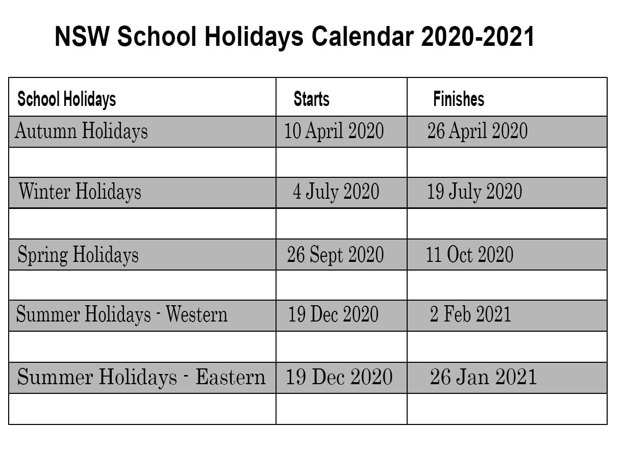 ❤️printable Calendar 2020 Templates With Nsw Public