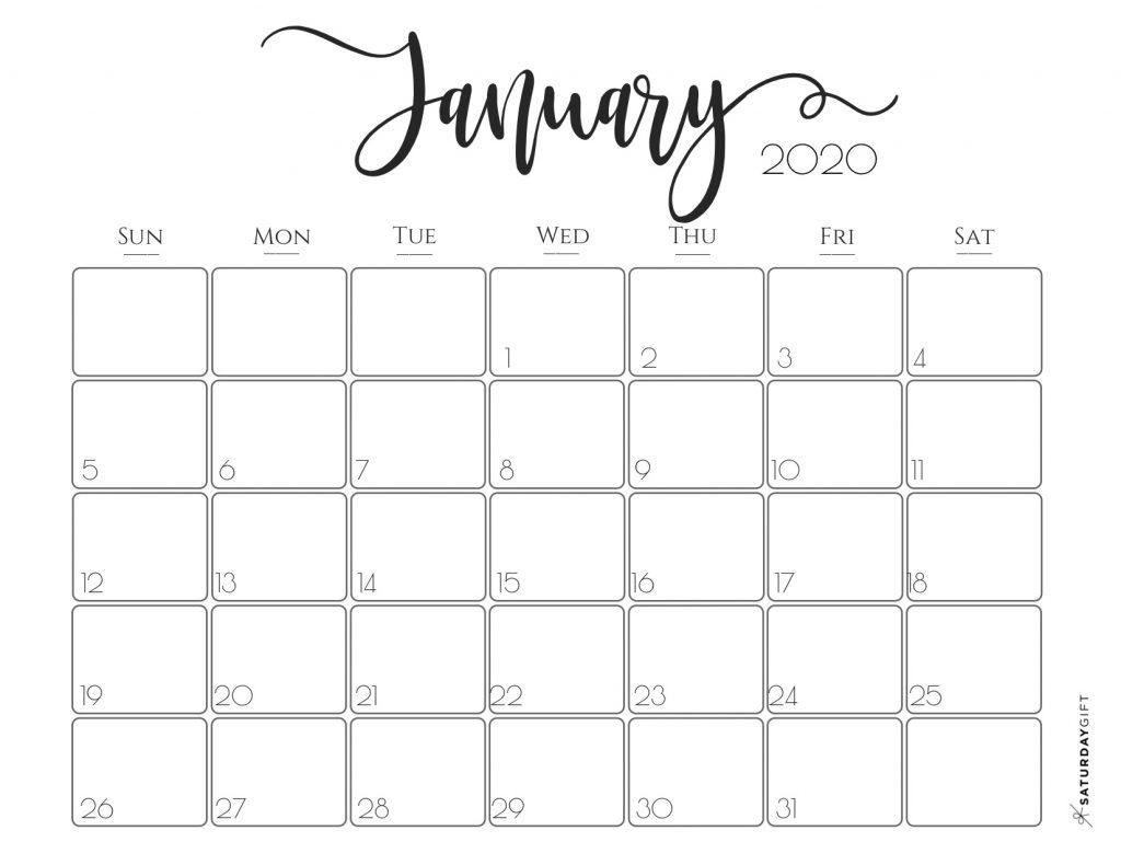 Editable 2020 January Calendar Printable Template With Notes