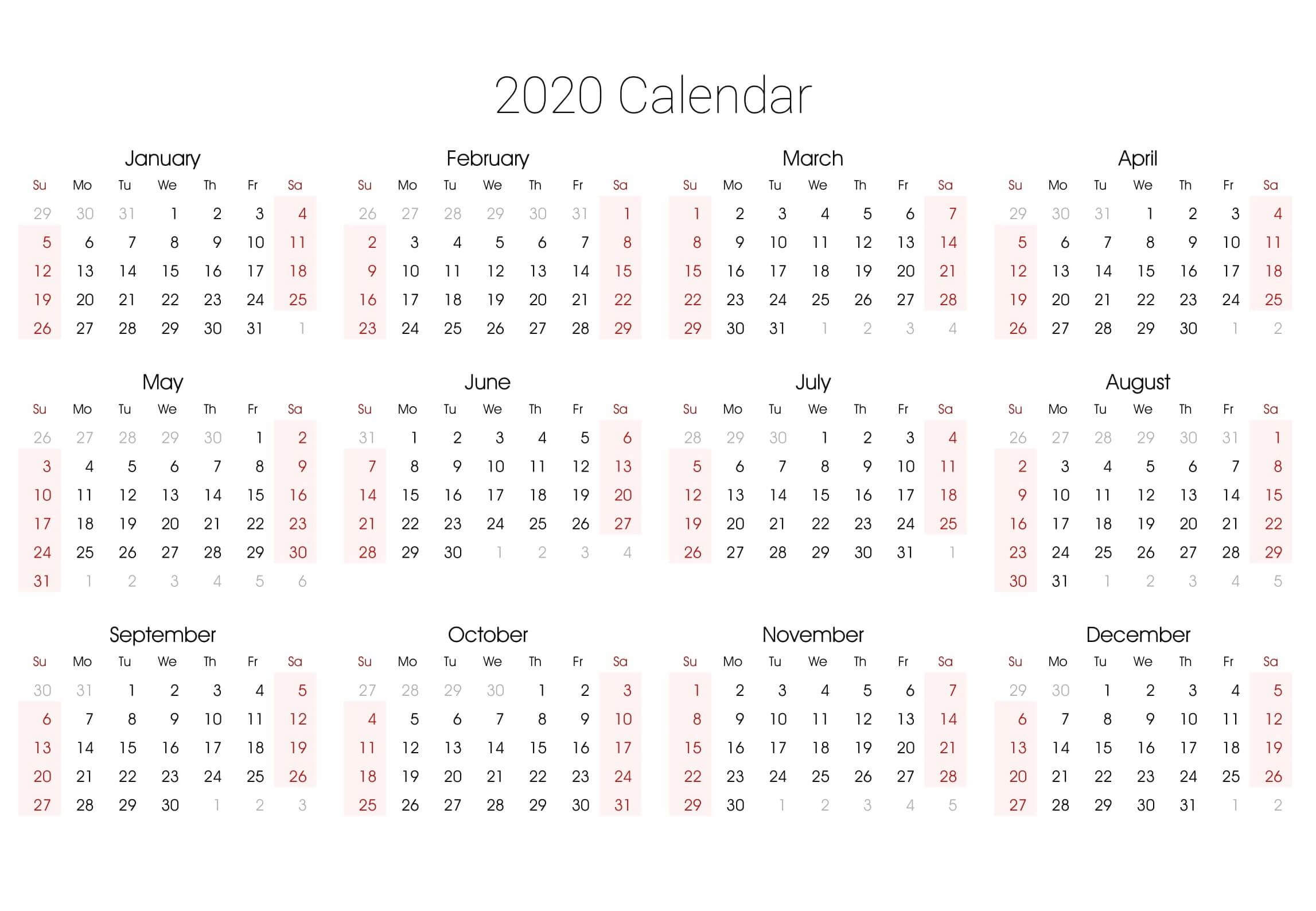 Editable 2020 Yearly Calendar Printable Pdf Word - Set Your