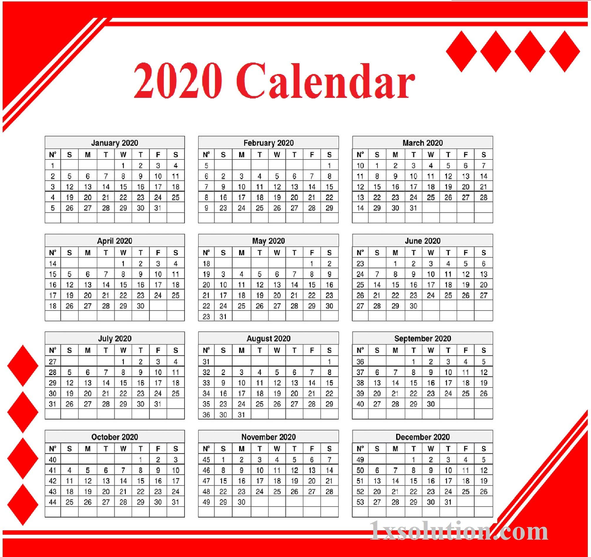 Editable Calendar 2020 True Tool For Time Management |