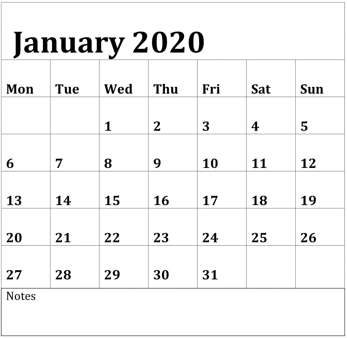 Editable Calendar January 2020 - Togo.wpart.co