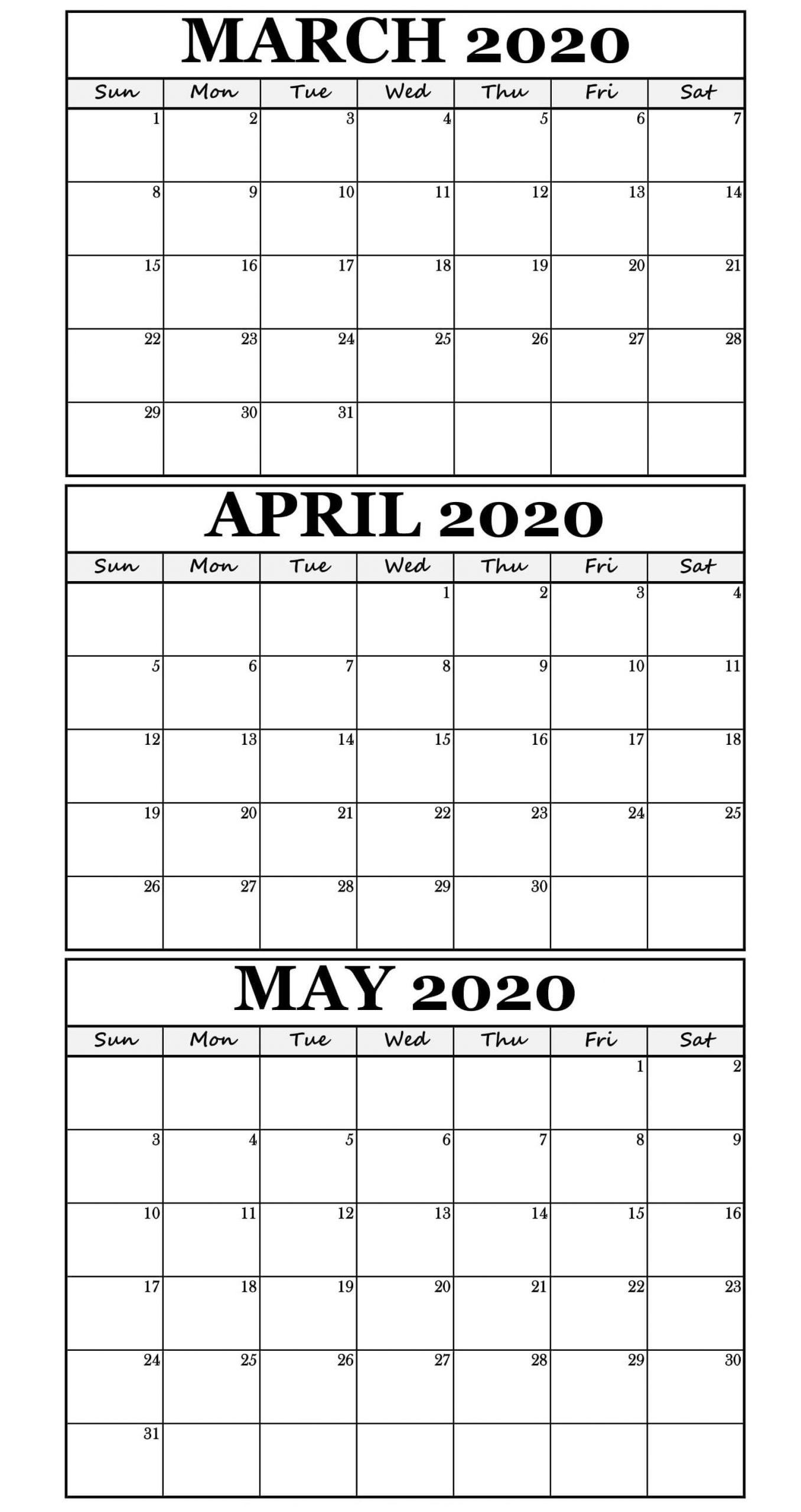 Editable March April 2020 Calendar Printable Sheets - Set