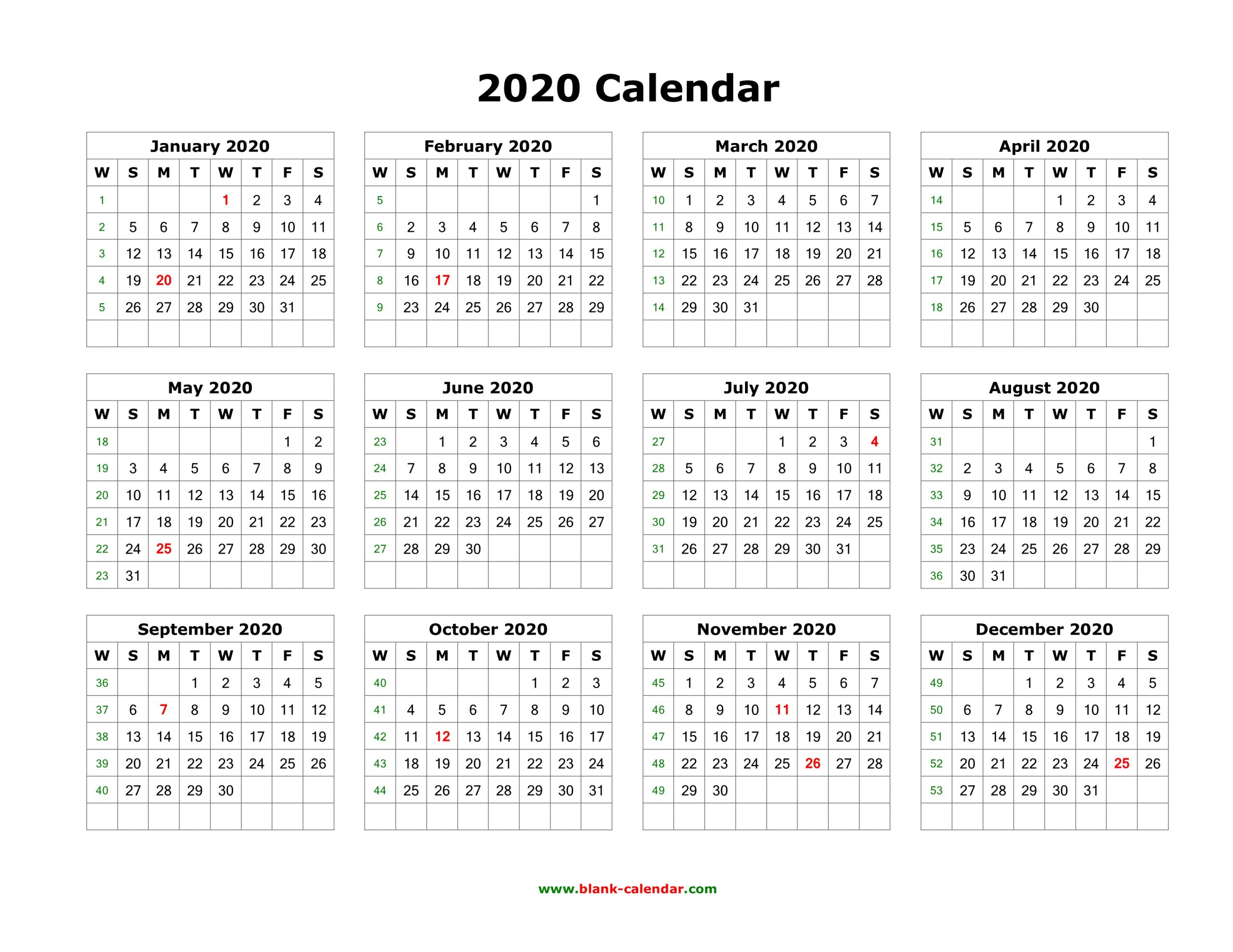 Editable Yearly Calendar 2020 - Togo.wpart.co