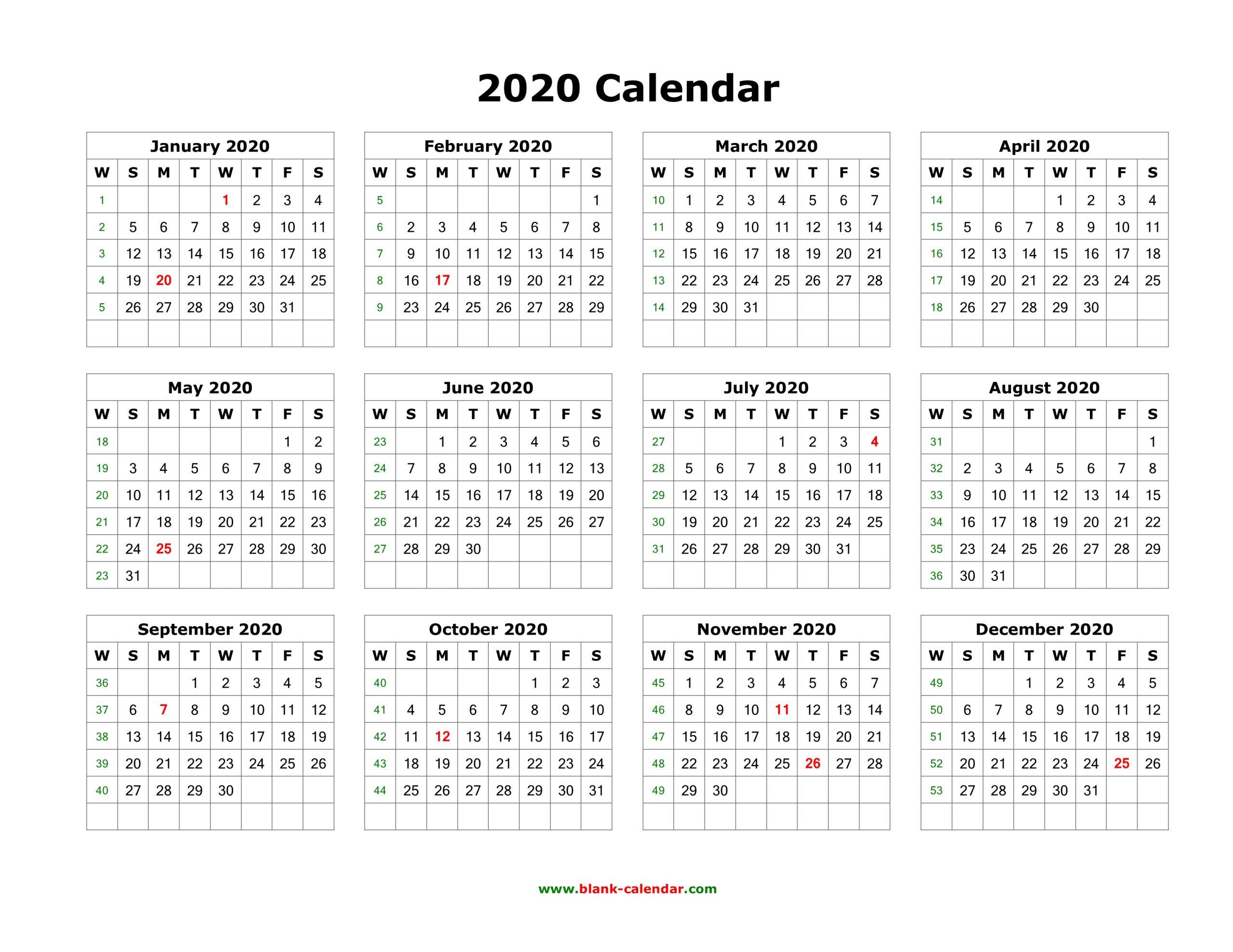 Editable Yearly Calendar 2020 - Togo.wpart.co