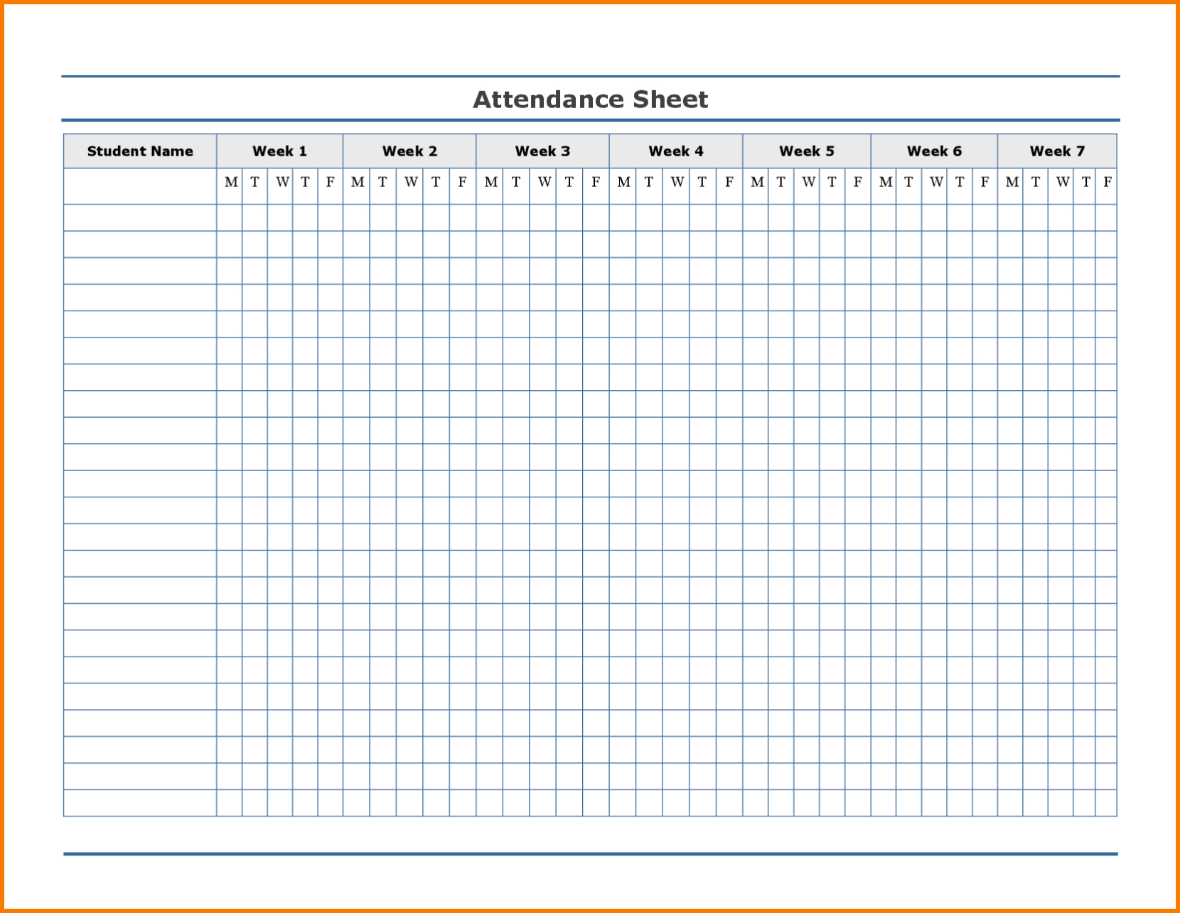 Employee Attendance Record Sheet Printable | Attendance