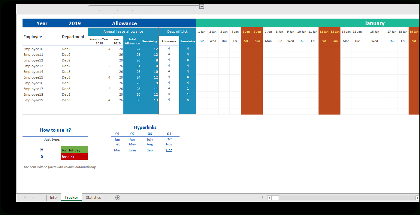 Employee Attendance Tracker - Monthly Excel Planner