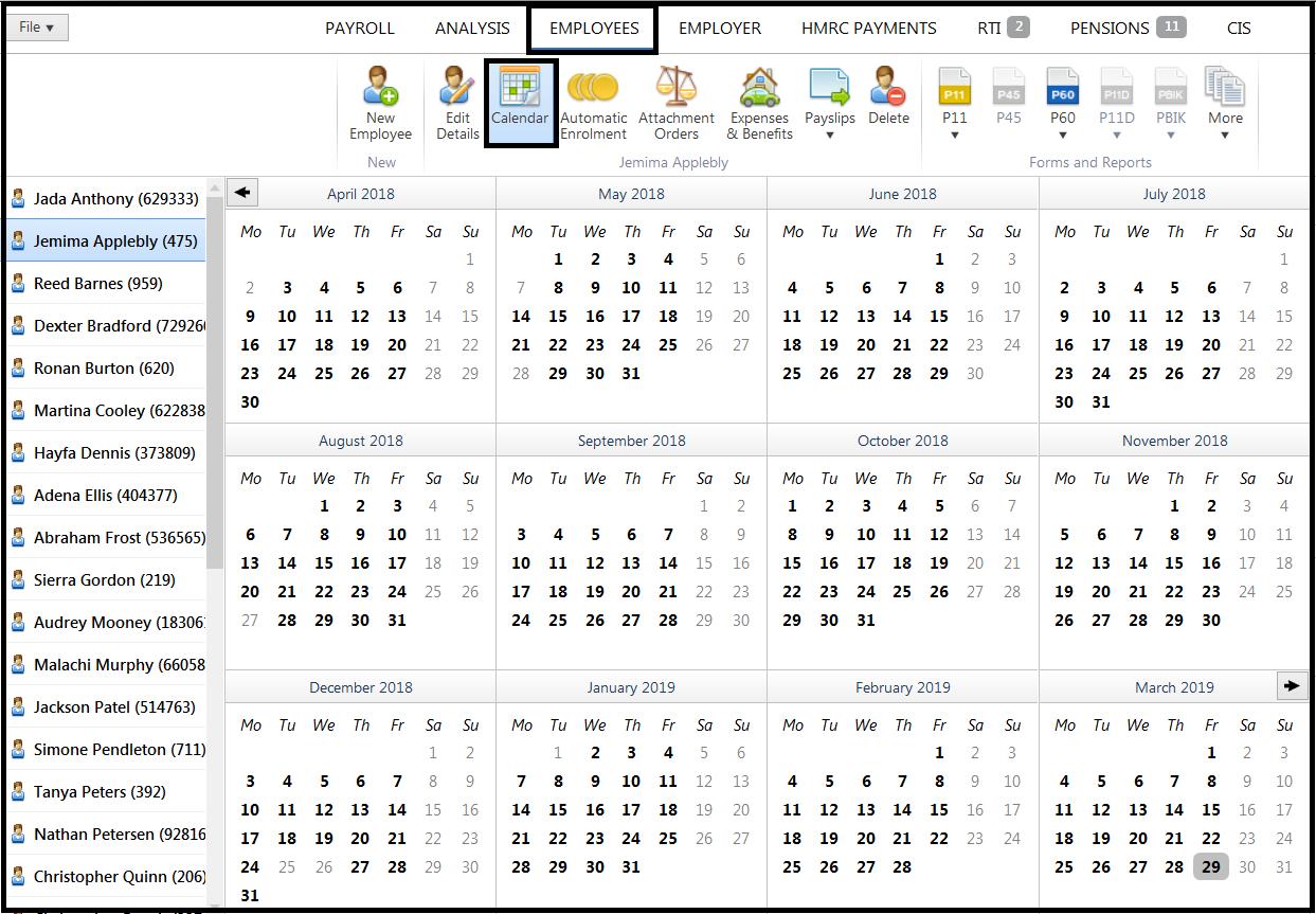 Employee Calendar - Brightpay Documentation