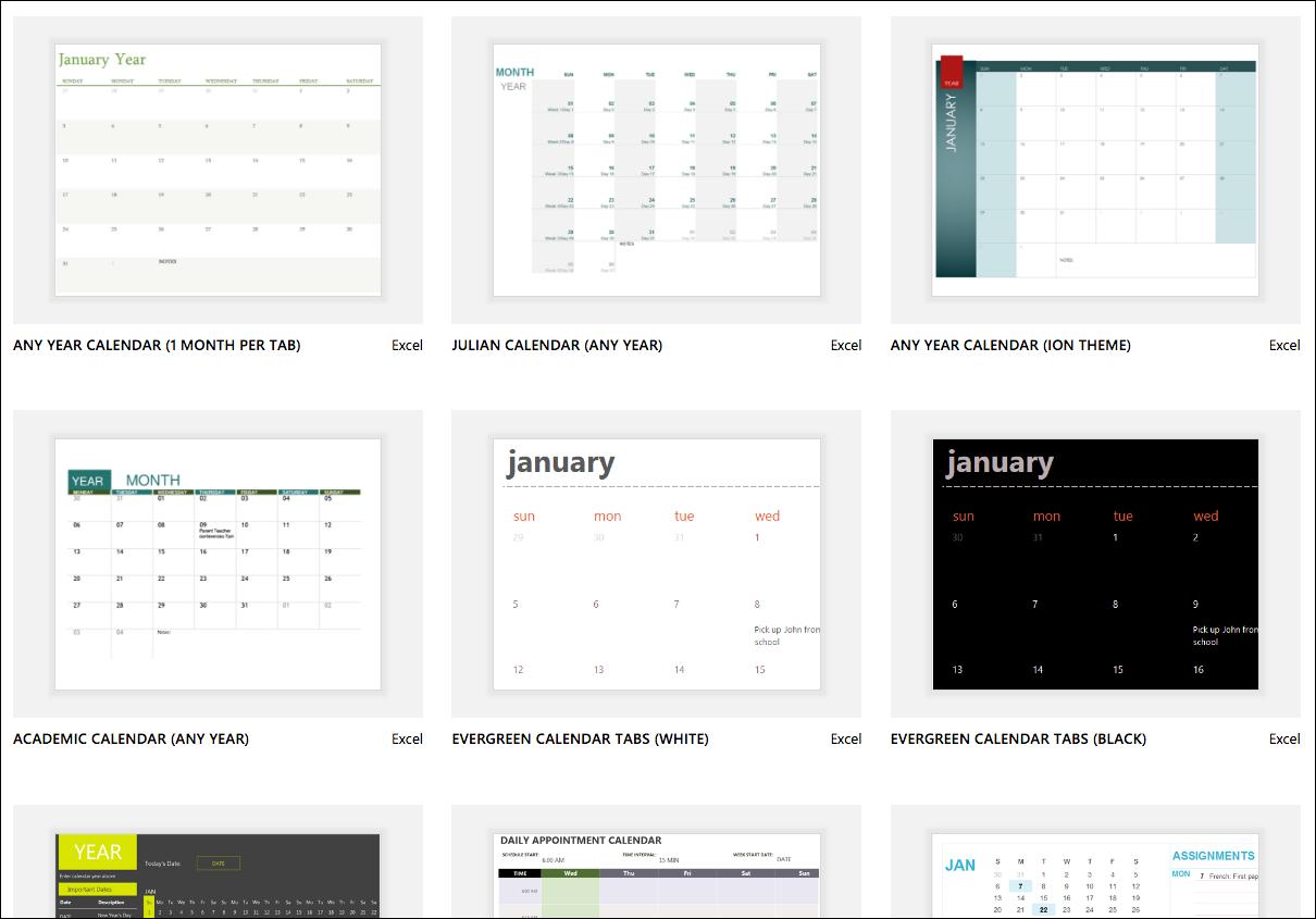 Excel Calendar Templates - Excel