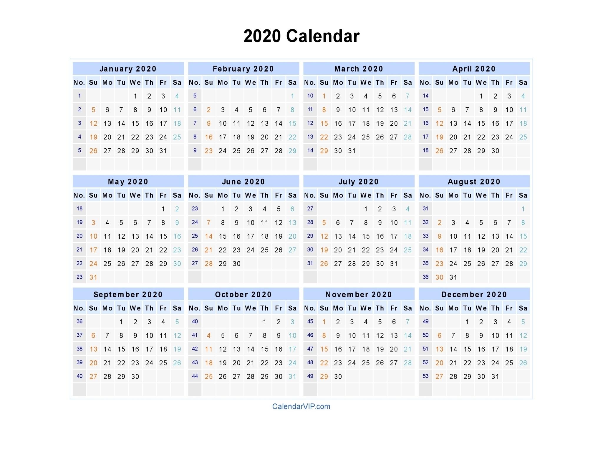 Excel Template Weeknumbers 2020 | Monthly Printable Calender