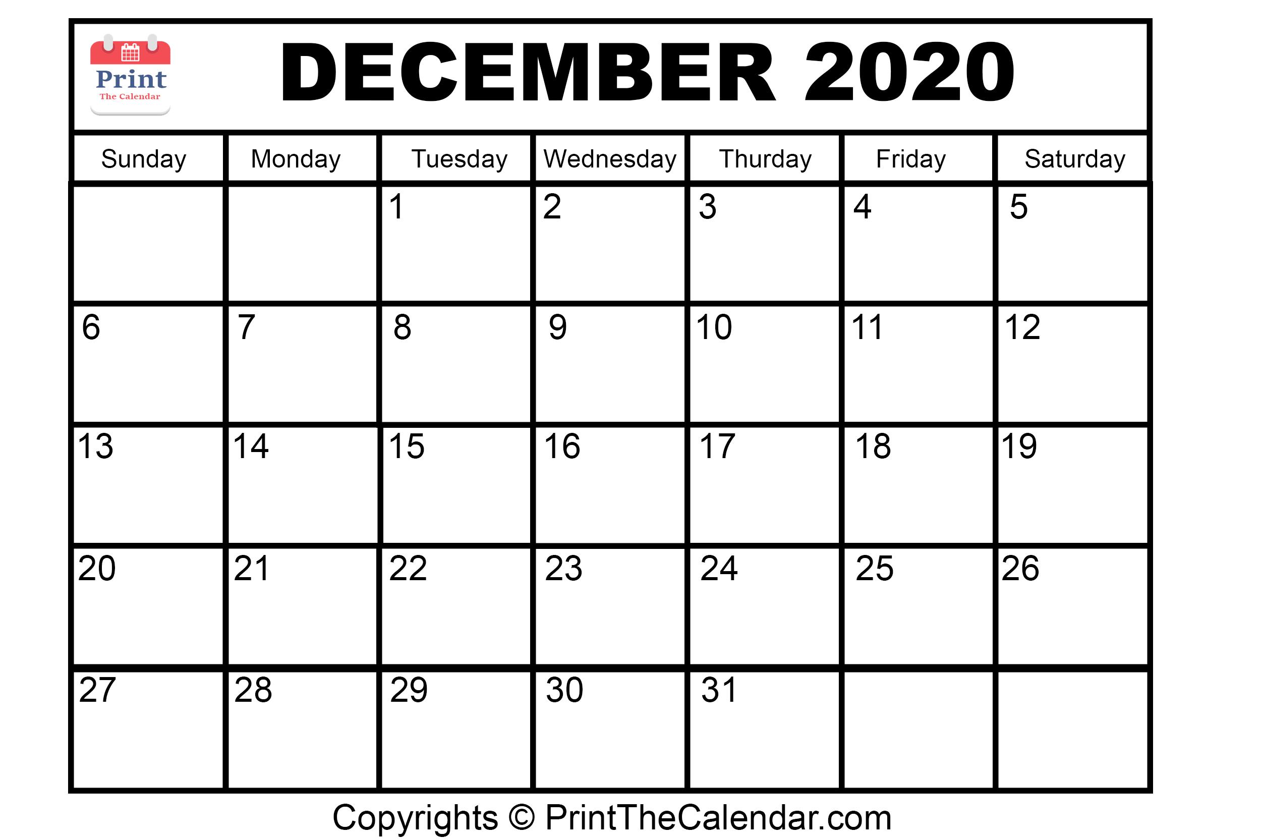 😃[Free}*^ December 2020 Printable Calendar For Word, Excel