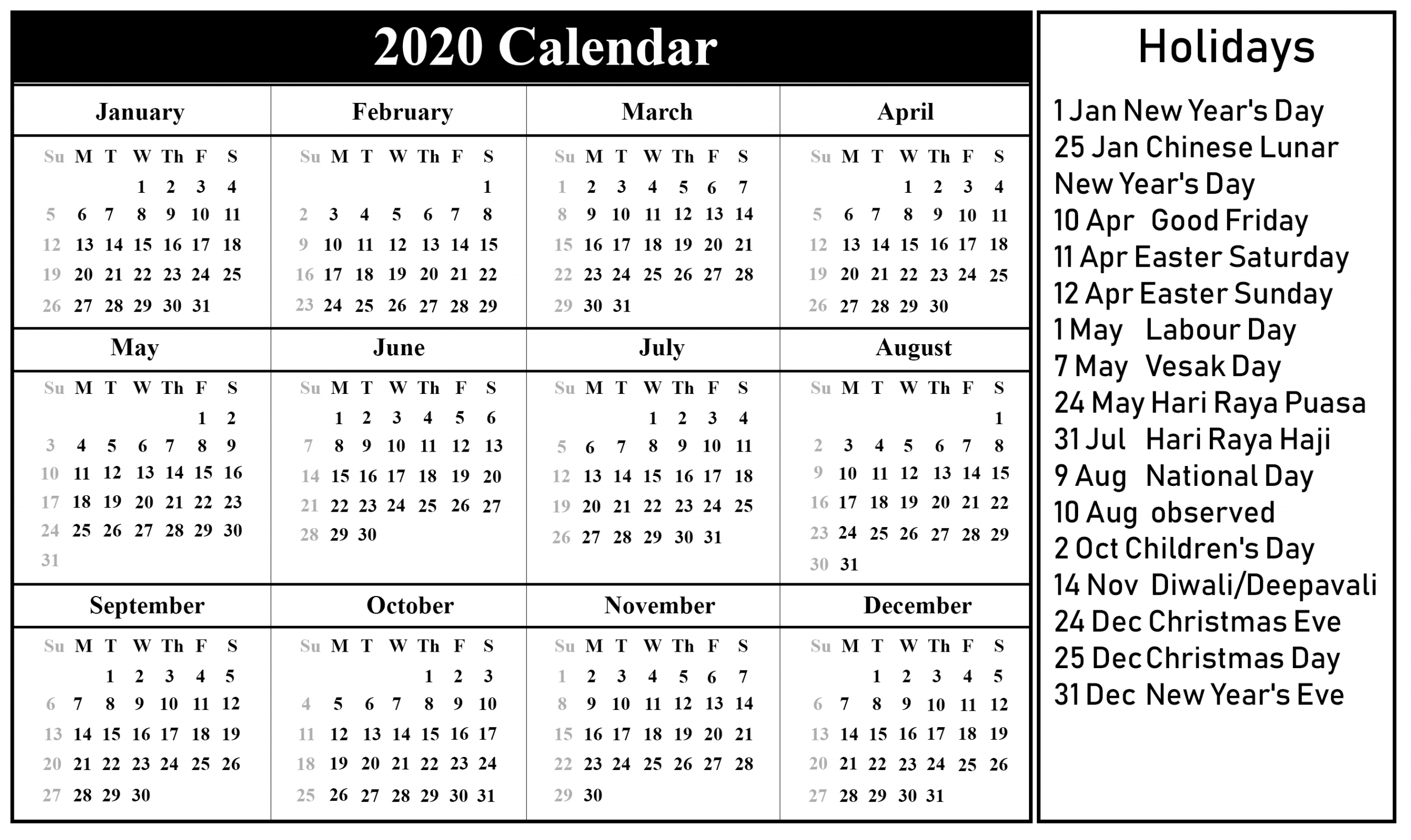 😄free Printable Singapore 2020 Calendar With Holidays In