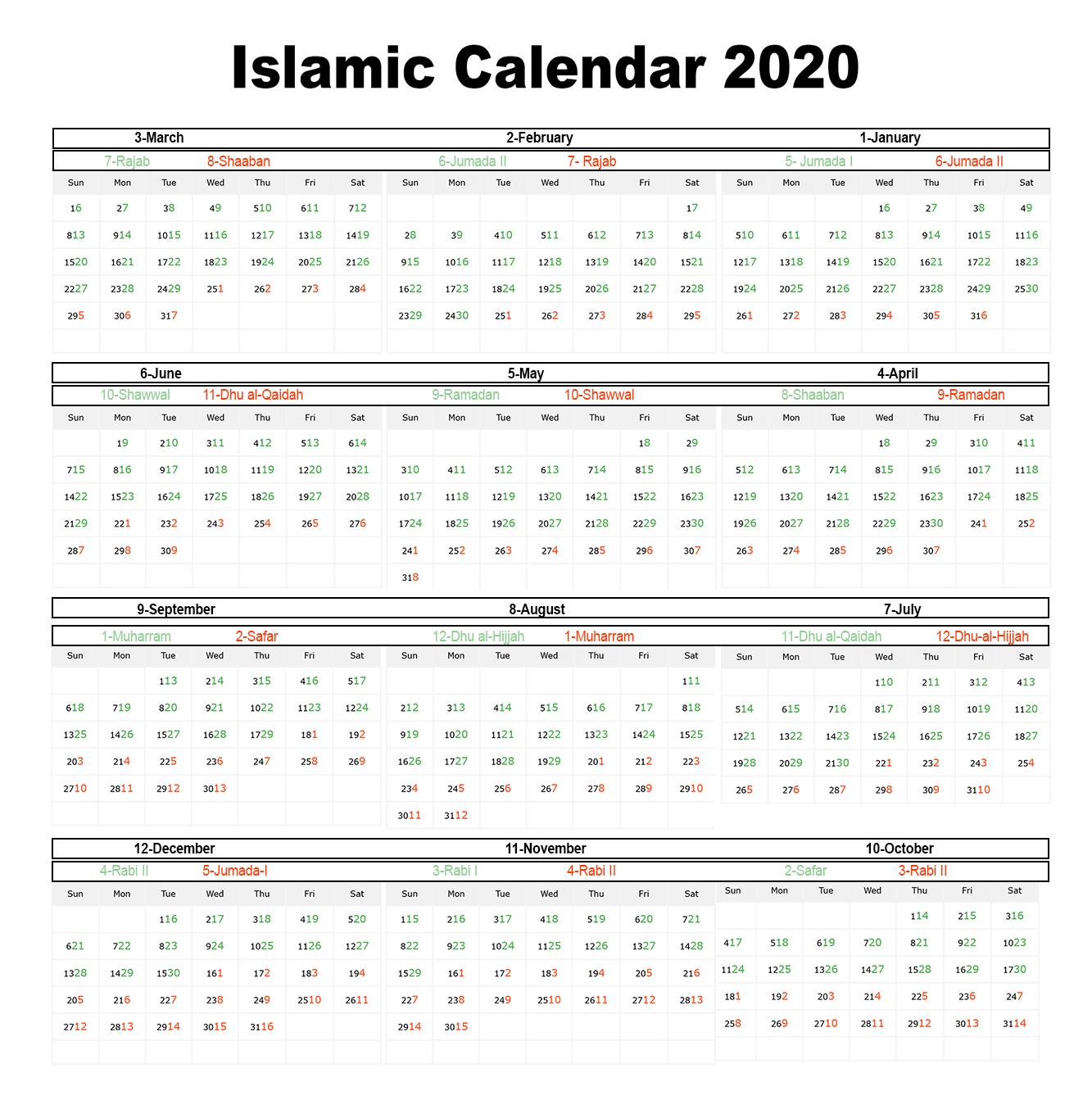 😄printable Islamic Calendar 2020 | Hijri Calendar 1441