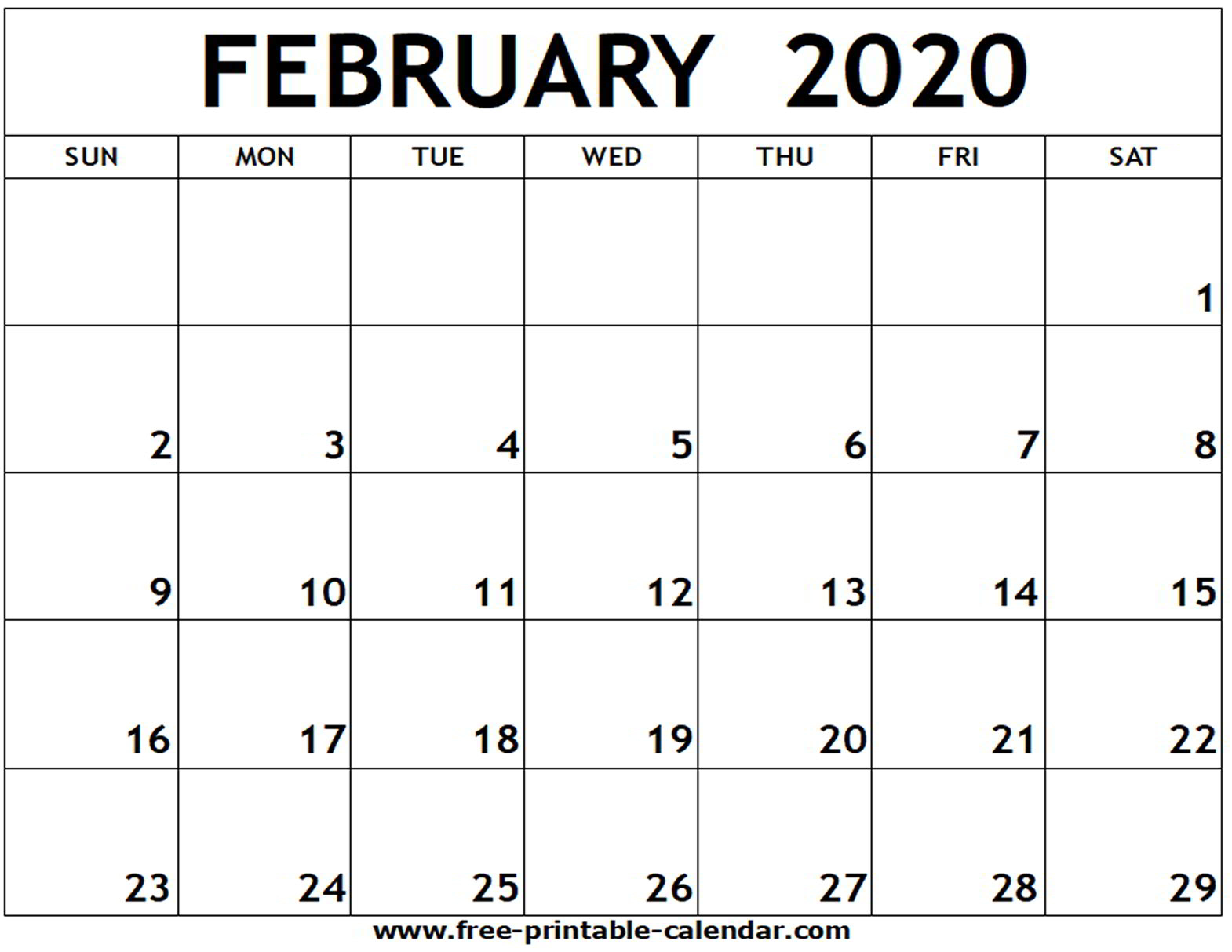 Feb 2020 Calendar Template - Togo.wpart.co