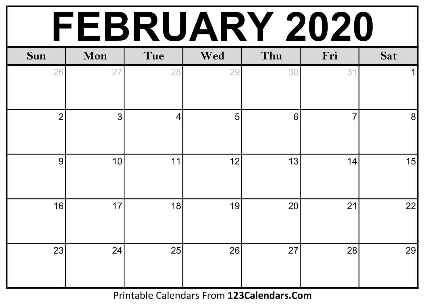 Feb 2020 Calendar Template - Togo.wpart.co