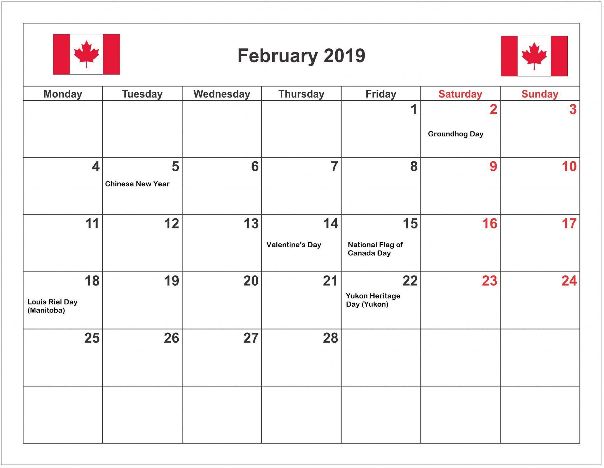 February 2019 Calendar Canada | 2019 Calendar Canada