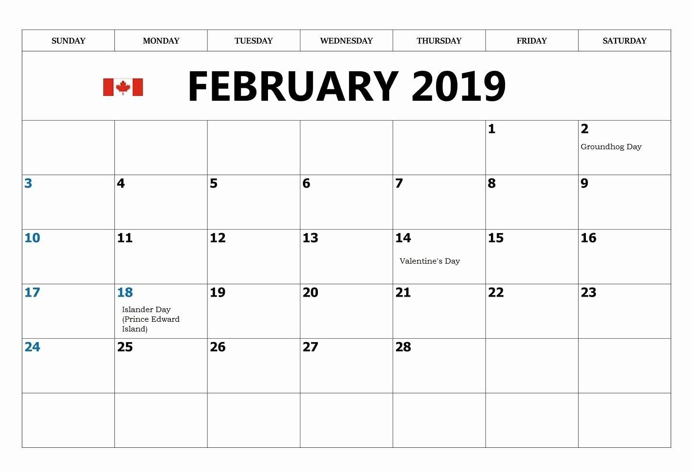 February 2019 Calendar Canada With Federal Holidays | 2019