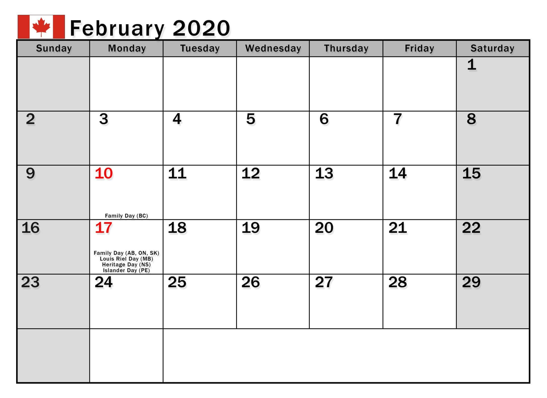 February 2020 Calendar Canada Bank Holidays - 2019 Calendars